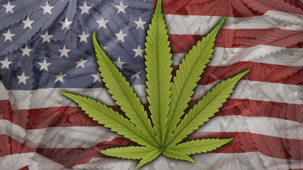 Marijuana leaf on American flag