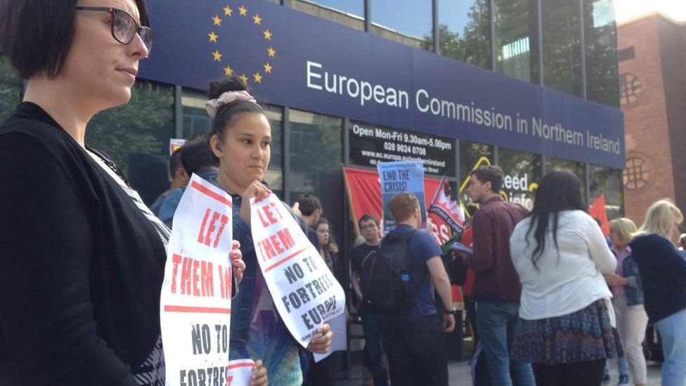 Belfast protesters demand eu help for refugees bbc news - European commission office ...