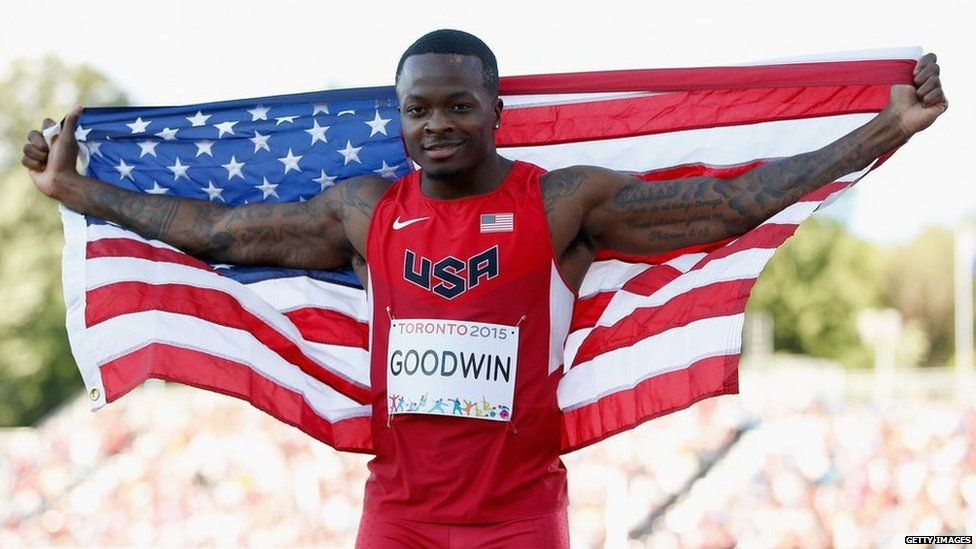 Goodwin representing USA at an athletics event
