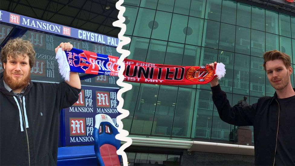 Manchester United and Palace fans hold a scarf