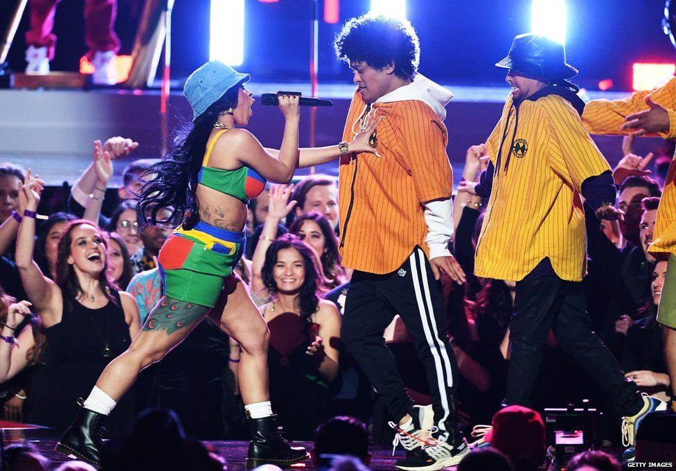 Bruno and Cardi B in Cross Colours at the 2018 Grammys