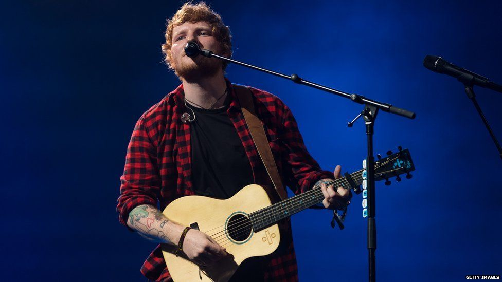 Ed Sheeran on the Pyramid stage at Glastonbury