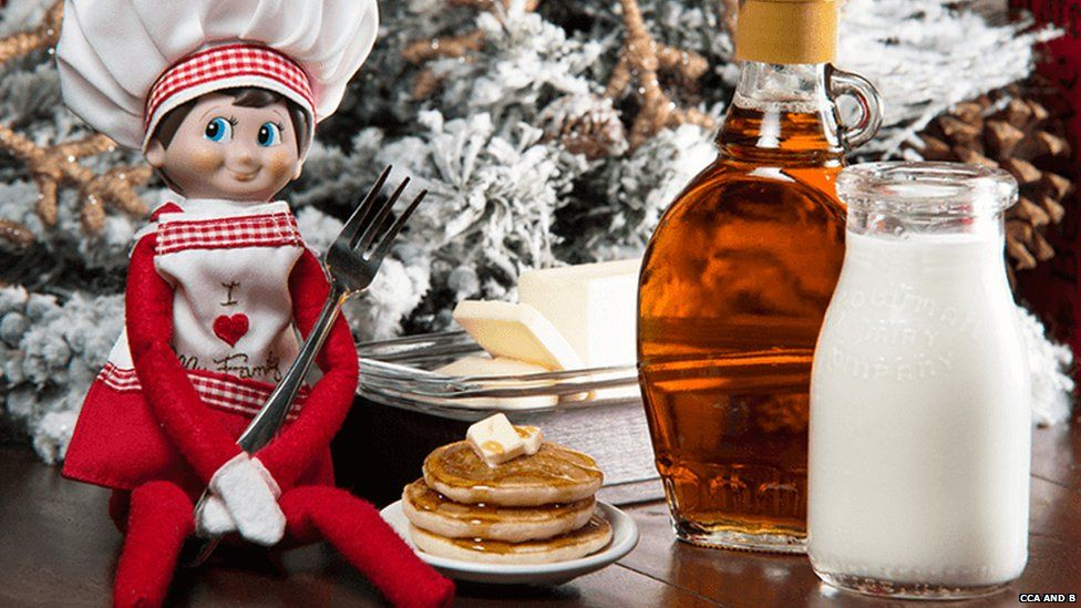 Elf on a Shelf with breakfast food