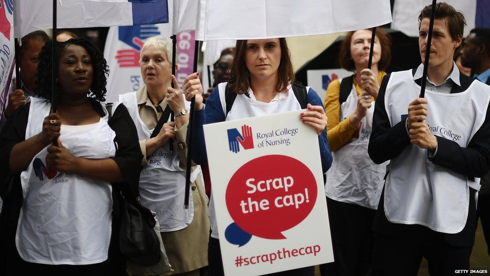 Protesters against the public sector pay rise cap