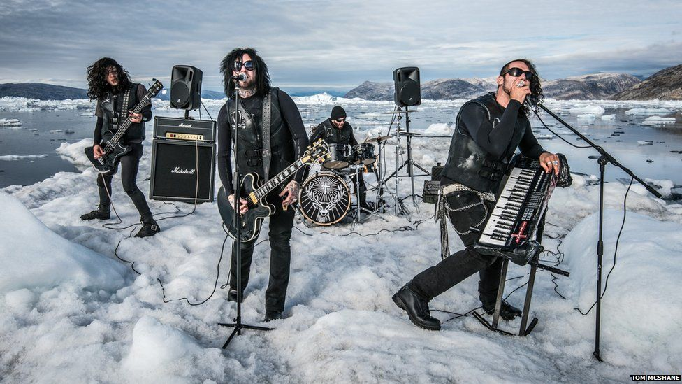 The Defiled perform on a floating iceberg