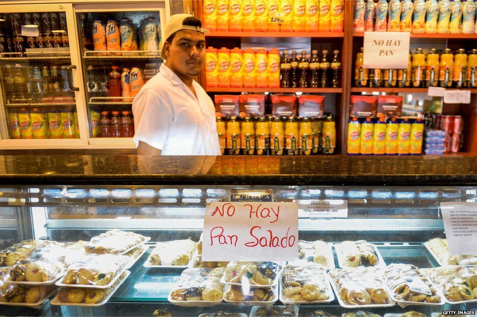 Shops in Venezuela with no bread signs