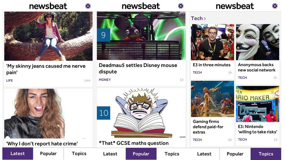 The latest, popular and topic tabs on the new Newsbeat app