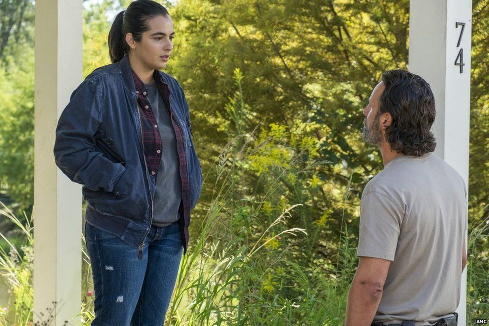 Alanna Masterson as Tara and Andrew Lincoln as Rick Grimes