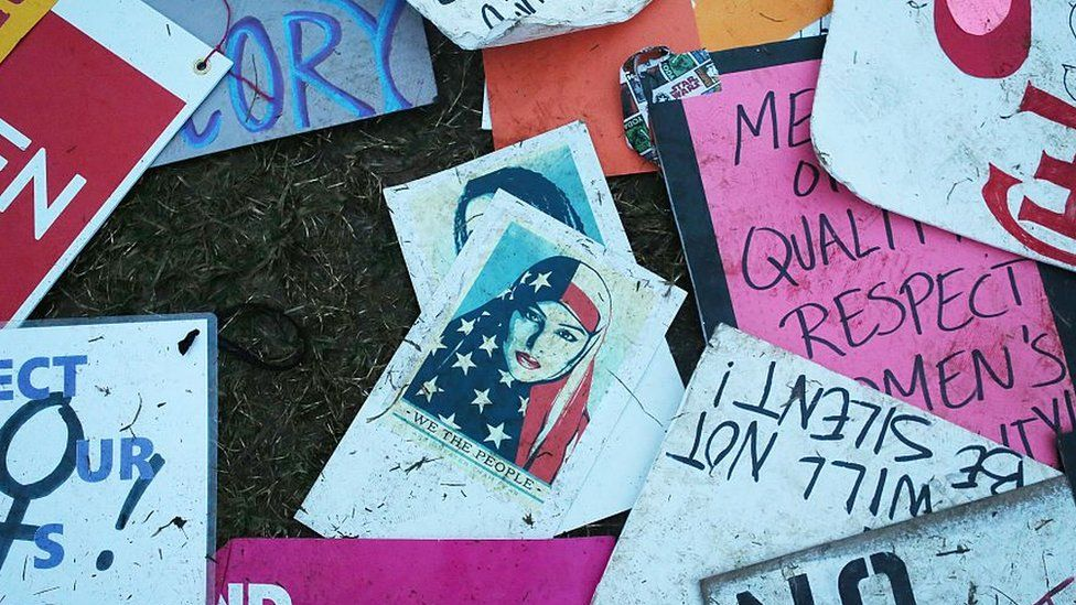 Protester's signs left near the White House during the Women's March on Washington on January 21