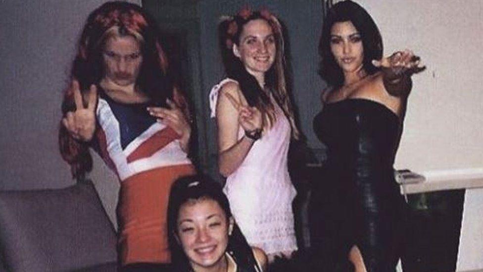 Kim Kardashian dressed as Posh Spice