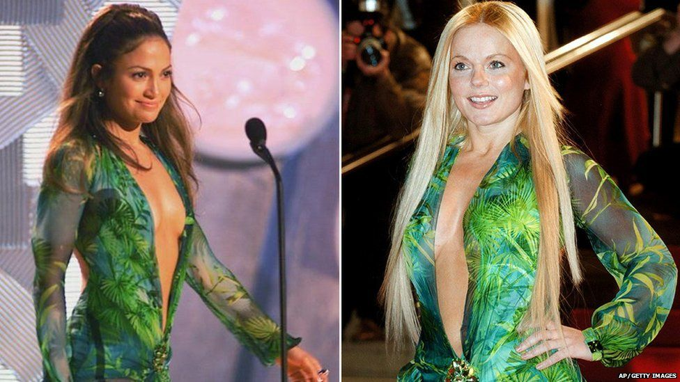 jennifer lopez and geri halliwell both wearing the versace dress