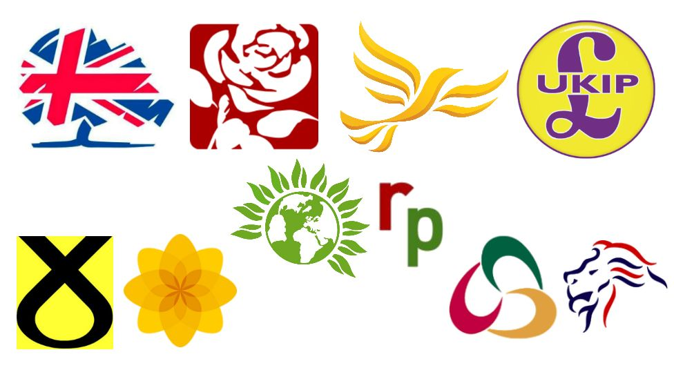 The logos of the major UK political parties
