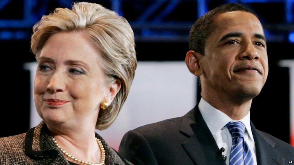Hillary Clinton and Barack Obama in 2008