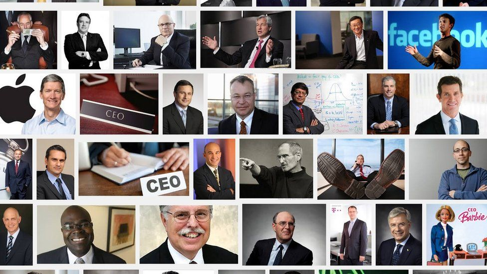 Images of male CEOs and Barbie