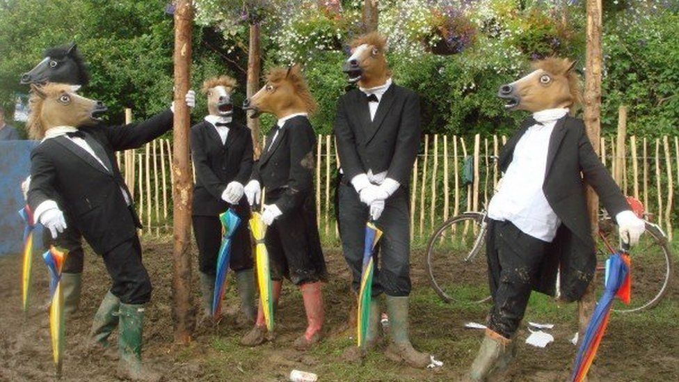 Horse heads are good for Glastonbury when the make-up runs out