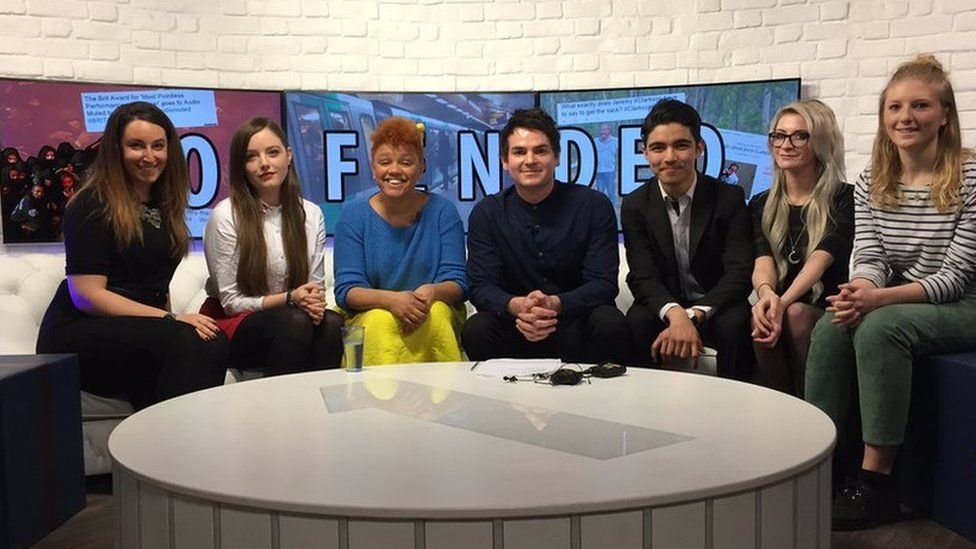 Radio 1 DJ Gemma Cairney, reporter Rick Kelsey and listeners sat on sofa