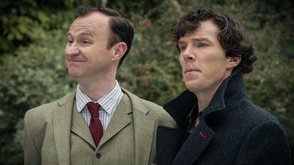 Mark Gatiss as Mycroft and Benedict Cumberbatch as Sherlock Holmes in a scene from BBC One's Sherlock