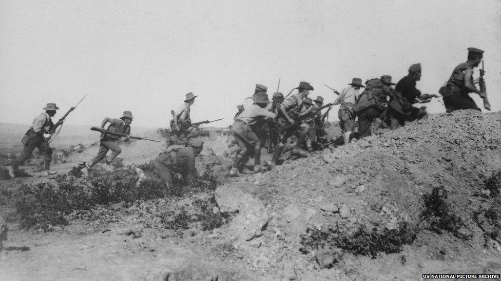 Australian troops assault an Ottoman bunker in January 1916
