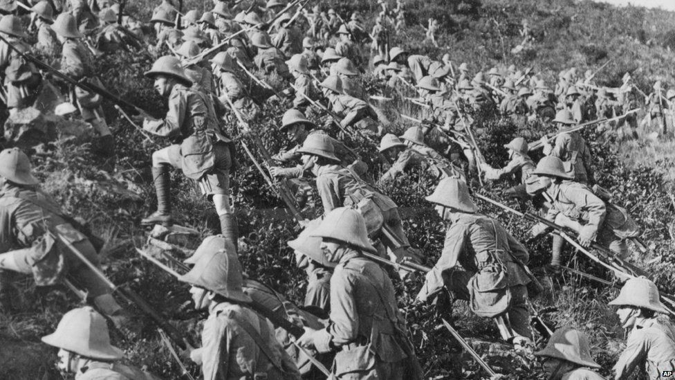 Soldiers line up ahead of an attack