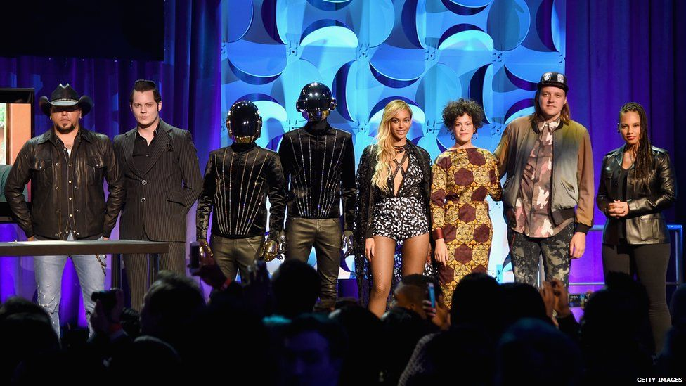 Jason Aldean, Jack White, Daft Punk, Beyonce, Regine Chassagne, Win Butler, and Alicia Keys