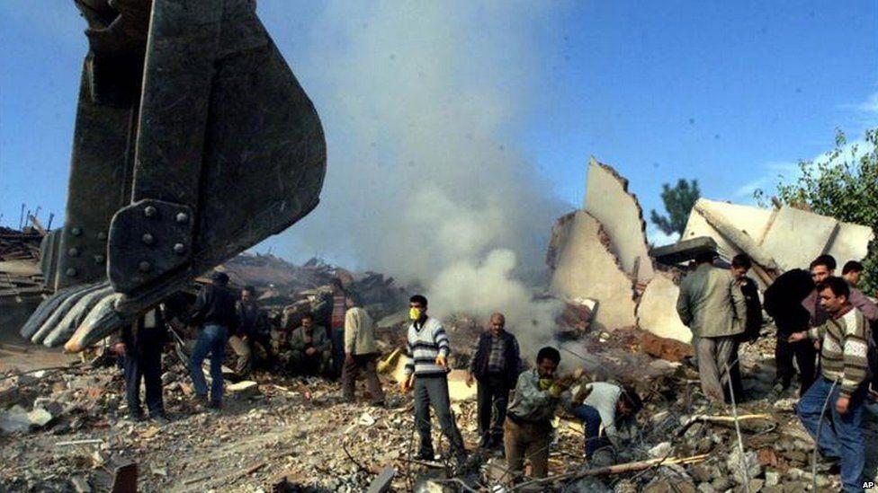 Debris after earthquake in Duzce near Istanbul
