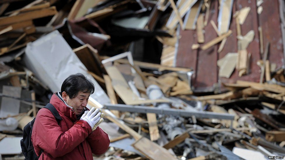 The aftermath of the Japan earthquake in 2011