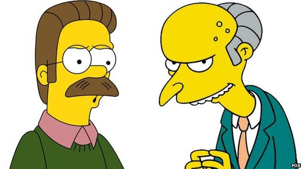 Ned Flanders and Mr Burns