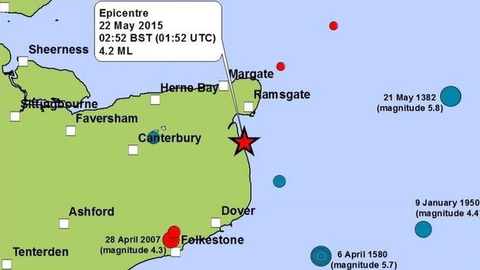 Map showing the epicentre of the Kent earthquake