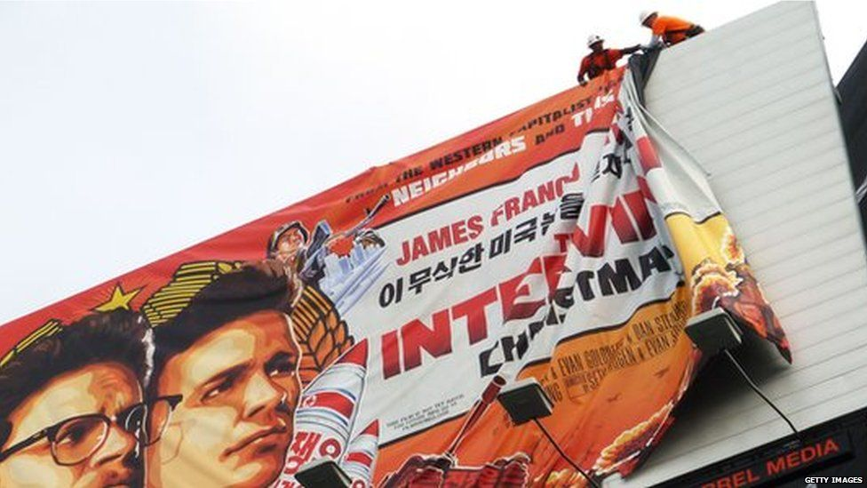 The Interview banner being taken down