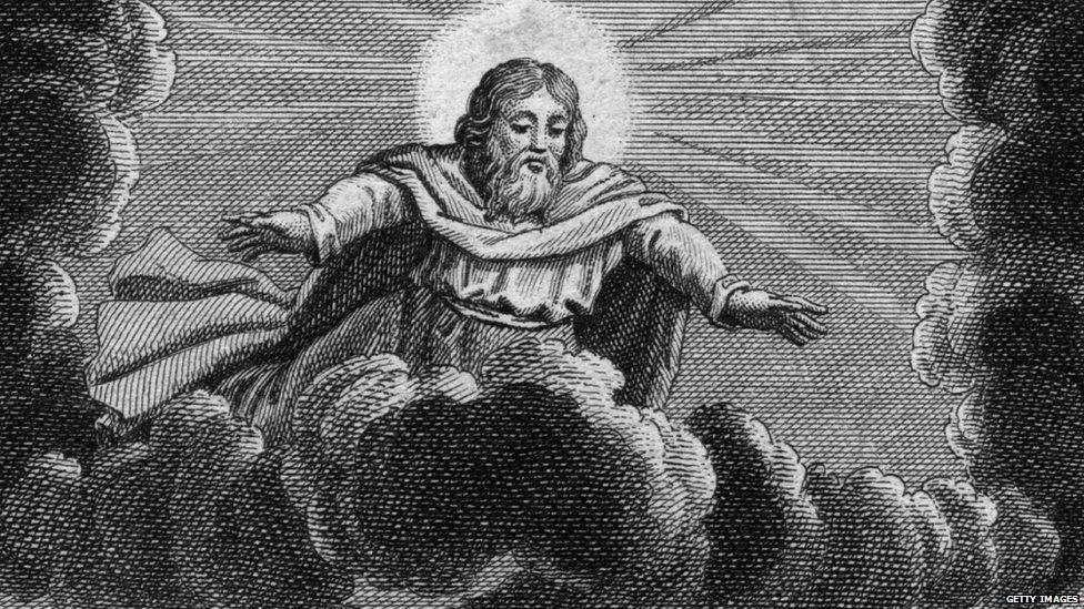 Representation of God sitting on a cloud in the sky