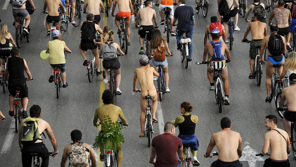 The naked bike ride takes place every year to raise awareness of cyclist safety and the environment.