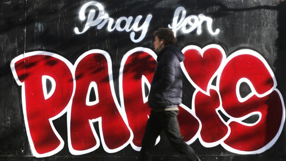 """Pray for Paris"" graffiti"