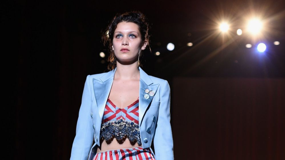 Bella Hadid on the catwalk in New York in September