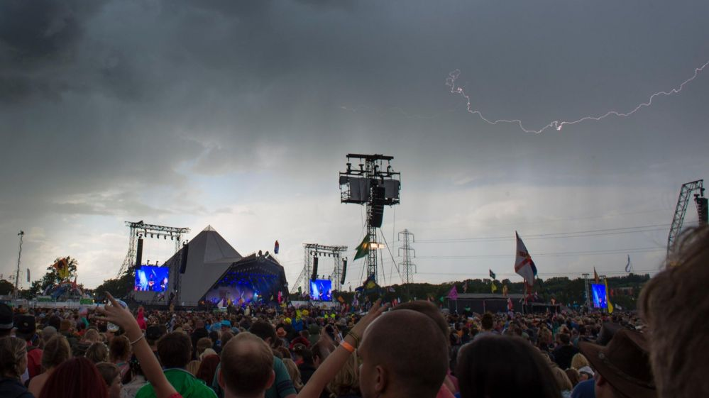 Lightning in the sky over the Pyramid Stage at the Glastonbury Festival,