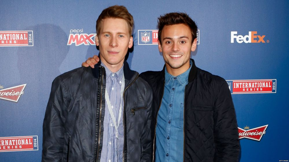 Tom Daley with his boyfriend Dustin Lance Black