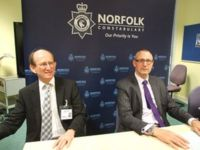 Prof Edward Acton, UEA vice chancellor, and detective chief superintendent Julian Gregory of Norfolk Constabulary
