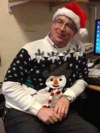 Mark D'Arcy in festive clothing