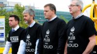 Police Fed reps wearing PC Pleb t-shirts