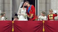The Duke and Duchess of Cambridge kiss at their wedding