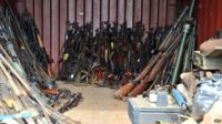 A cache of firearms seized by French troops from anti-balaka fighters.
