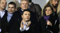 Democratic Party leader Matteo Renzi (front, centre) at a Serie A soccer match between Fiorentina and Inter Milan in Florence on 15 February