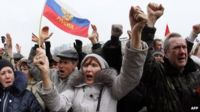 Pro-Russian activists at a rally in Donetsk