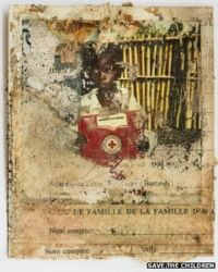 A Polaroid photograph of a separated child taken for Save the Children's tracing programme after the genocide in Rwanda