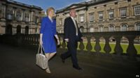 Nicola Sturgeon walking alongside Stephen Tierney