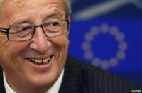 Jean-Claude Juncker at a news conference in the European Parliament, Strasbourg, 15 July