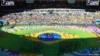 A general view of the closing ceremony prior to the 2014 FIFA World Cup Brazil Final match between Germany and Argentina at Maracana on July 13