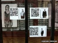 Temporary window display of the work in Carrick-on-Suir