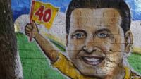 A drawing of the late presidential candidate Eduardo Campos is seen at a campaign centre in Recife on 14 August, 2014.