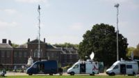 Media crews at Kensington Palace