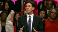 Ed Miliband delivering his conference speech